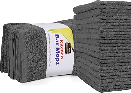 Utopia Towels Kitchen Bar Mops Towels, Pack of 12 Towels - 16 x 19 Inches, 100% Cotton Super Absorbent Grey Bar Towel...