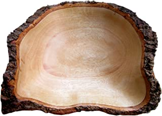 roro Hand-crafted Sustainable Mango Wood Fruit Bowl with Bark Edges (9 Inch, Natural Bark)