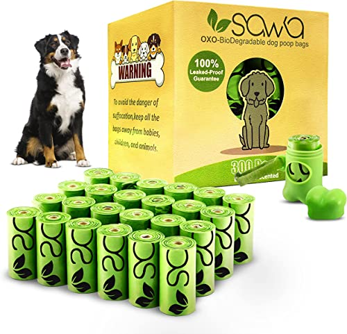 SAWA Dog Poop Bags Lavender Scented with Dispenser 20 Rolls 300 Packs of Thick Poo Bags and Leash Clip for Doggy Cats...