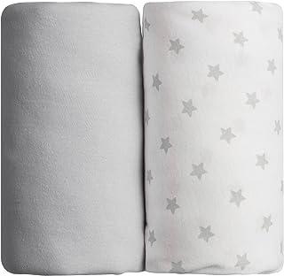 Lot de 2 draps housse gris uni + étoilé Babycalin - 70 x 140 cm