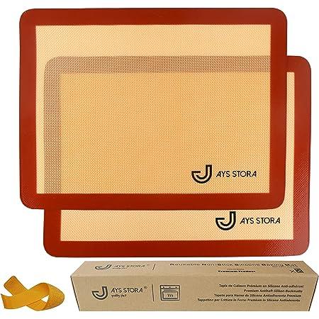 JAYS STORA ® Tapis de Cuisson Silicone Prémium (X2). Feuilles de Cuisson 40 x 30 cm antiadhérentes et réutilisables. Tapis de Four pour patisseries, écologique et économique. Bande Velcro Offerte