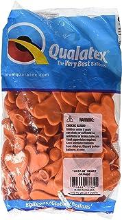 Qualatex風船 6インチ(16cm) ハート型オレンジ 徳用100個入