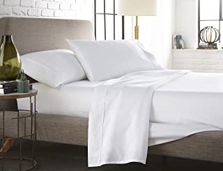 Westbrooke Linens 500 Thread Count 100% Long-Staple Cotton Pleated Hem Sheet Set, Solid Sateen Weave, Wrinkle Free, Elastic Deep Pocket, Hotel Collection, Luxury Bedding Sheet Set (Queen, White)