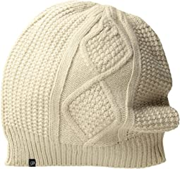 Fleece-Lined Diamond Cable Knit Beanie
