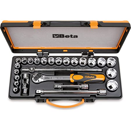 Beta 920A/C20X 20 - Chiavi a Bussola Esagonali 20 Pezzi, Accessori 5 Pezzi - Cassetta di Lamiera