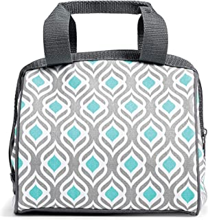 Fit & Fresh 902FFST525 Charlotte Insulated Lunch Bag with Reusable Ice Pack (Grey Aqua Leaf), 9