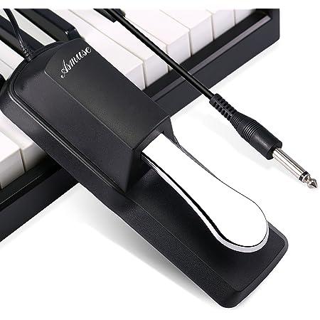 Asmuse Pédale Piano Sustain Universel Non-slip Damper avec Piano Style Action pour Clavier Synthétiseur Piano Electronique et Orgue (1.73m/5.68ft)