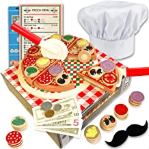Wooden pizza toy for kids Pizza Play Food Set - Wooden play food sets for kids with chef hat (121 pcs) -Most Complete Kids Pizza Set Oven Toy & Sticky tab toppings - Pretend Play pizza set for kids