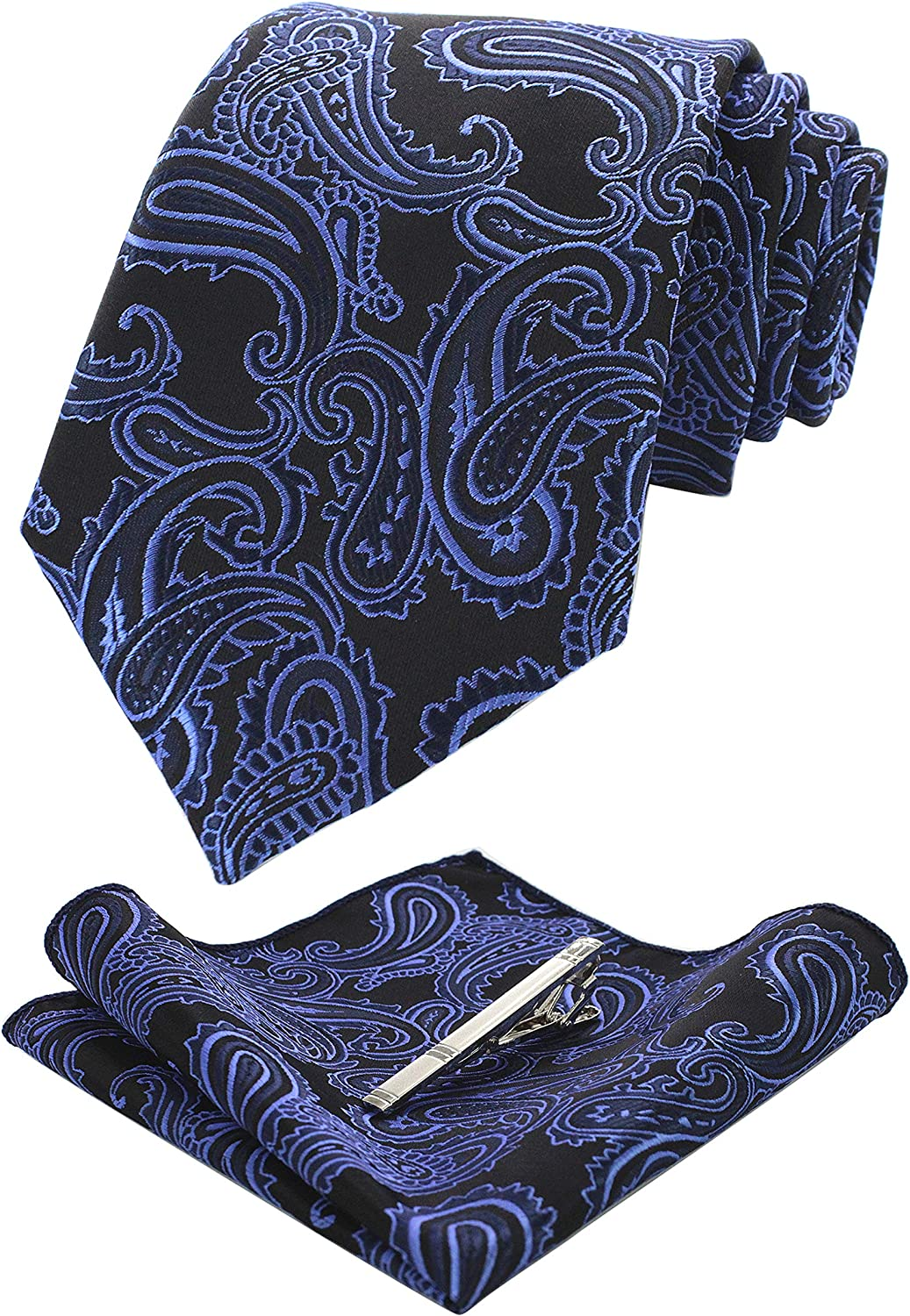JEMYGINS Paisley Tie and Pocket Square, Necktie with Tie Clip Sets for Men