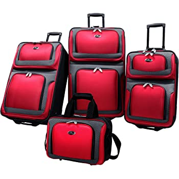 U.S. Traveler New Yorker Lightweight Expandable Rolling Luggage, Red, 4-Piece Set