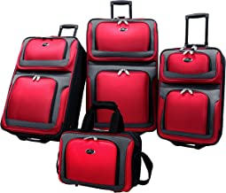 U.S. Traveler New Yorker Lightweight Expandable Rolling Luggage 4-Piece Suitcase Set, Red