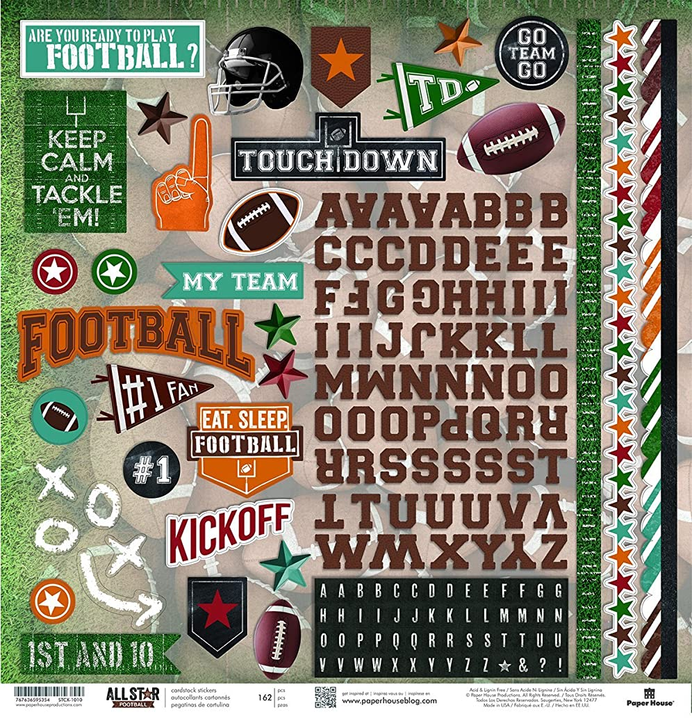 Paper House Productions STCX-1010E Football Cardstock Stickers 12-Inch (Pack of 6)