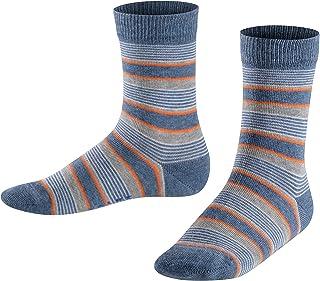 FALKE Socken Mixed Stripe Baumwolle Kinder grau blau viele weitere Farben verstärkte Kindersocken mit Muster atmungsaktiv dünn mit Streifen und Ringel 1 Paar