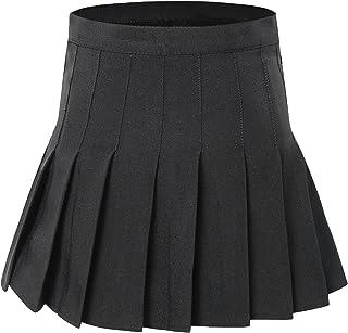 Tremour Women High Waist Pleated Mini Tennis Skirt Solid Short Skirts