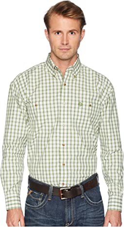 Wrangler George Strait Long Sleeve Two-Pocket Plaid