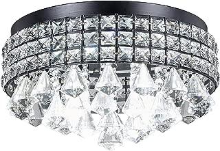 Top Lighting Antique Black Finish Iron Shade Crystal Flush Mount Chandelier