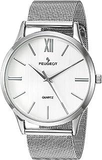 Peugeot Men's Silver Slim Case Stainless Steel Mesh Dress Watch