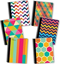 NEW GENERATION – Chevron - Fashion Composition Notebooks, 6 Pack Note Books -Journals, 80 Sheets / 160 Pages Wide Ruled White Paper Durable Laminated Covers with Assorted Eye-Catching Cute Designs