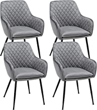 Yaheetech Dining Chairs Counter Lounge Armrest Chairs Velvet Upholstered Modern Chairs With Backrest Gray 4pcs