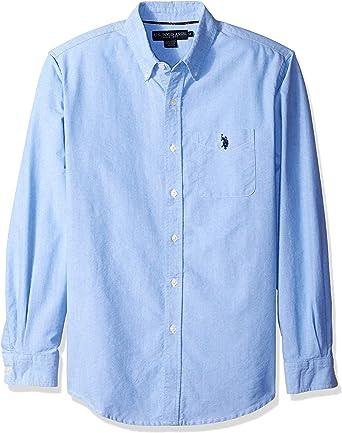 US Polo Assn. Camisa deportiva de tela Oxford sólida con botones para hombre