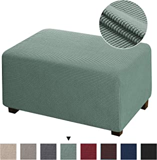 Large Ottoman Slipcovers Stretch Fabric Footrest Sofa Slipcovers Footstool Covers Storage Ottoman Protector Covers, Sage