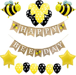 Bumblebee Party Decorations for Girls and Boys-Happy Beeday Burlap Birthday Banner,Bumble Bee and Star Foil Balloons,Polka Dot Balloons-Honey Comb Bee Themed Birthday Supplies and Favors for Kid's 1st 2nd 3rd 4th Toddlers Bday Decor
