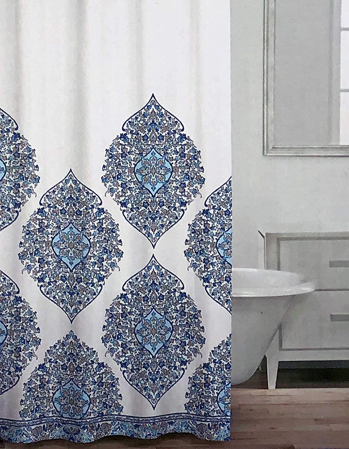 Caro Fabric Shower Curtain Large Intricate Boho Floral Medallions in Shades of Blue and Beige on White - Patrizia, Aqua