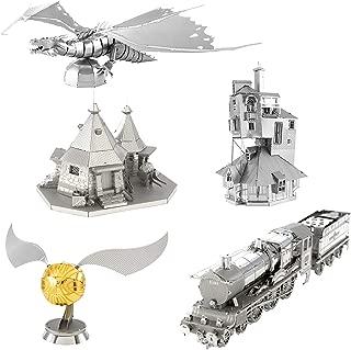Fascinations Metal Earth 3D Metal Model Kits - Harry Potter Set of 5 - The Burrow - Hogwarts Express Train - Hagrid's Hut - Golden Snitch - Gringotts Dragon