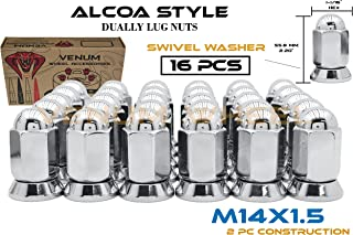 16 Pc Alcoa Style Chrome Lug Nuts For Dually's With Pressed In Washer Attached M14x1.5 Thread Fits Silverado Sierra 3500HD Ford F-350 Ram 3500