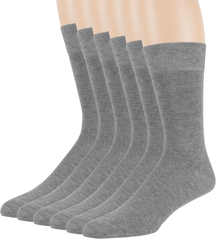 7BigStars Men Bamboo Dress Sock-6 Pack -XL/L/M- Black Khaki Beige Brown Grey Navy Blue