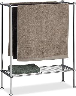 Relaxdays, Zilveren handdoekhouder chroom, 3 handdoekstangen, plank, handdoekrek, stabiel en roestvrij, HBT: 79x64x26 cm