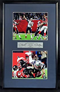 "New England Patriots Tom Brady & Julian Edelman ""The Comeback & The Catch"" SB LI 8x10 Stack Display (SG Signature Engraved Plate Series) Framed"