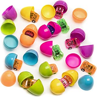 Kicko Surprise Filled Eggs with Mini Pull Back Cars 24 Pieces - 2 Inch Assorted Colorful Eggs with Toys – Party Bag Stuffer, Cool and Fun Surprise Easter Eggs