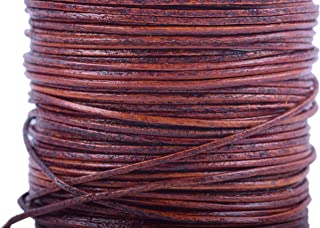 KONMAY 1 Roll 25 Yards 1.0mm Round Genuine/Real Leather Cord Beading String (Distressed Brown)