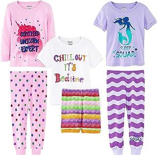 Girls' 6-Piece Snug-Fit Cotton Pajama Set Sleepwear