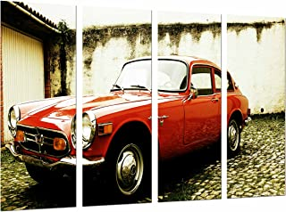 Multi Wood Printings Art Print Box Framed Picture Wall Hanging - (Total Size: 51.5 x 24.4 in), Classic Vintage Red Honda Car, Carretera Carrera, Framed and Ready to Hang - ref. 27054