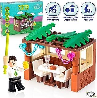 Child's Boy Mini-Brick Sukkah Kit: 84-Piece Building Block Toy of Male with Lulav,..