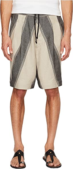 Linen Stripe Samurai Shorts