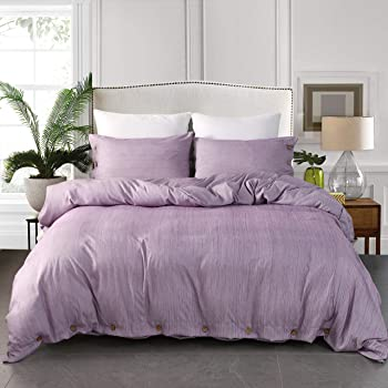 "JELLYMONI Purple Duvet Cover Set, 3-in-1 Luxury Button Bedding Set, Ultra Soft Breathable Hypoallergenic Microfiber, Easy Care,Simple Style,Solid Color Duvet Cover King Size(104""×90"")(No Comforter)"
