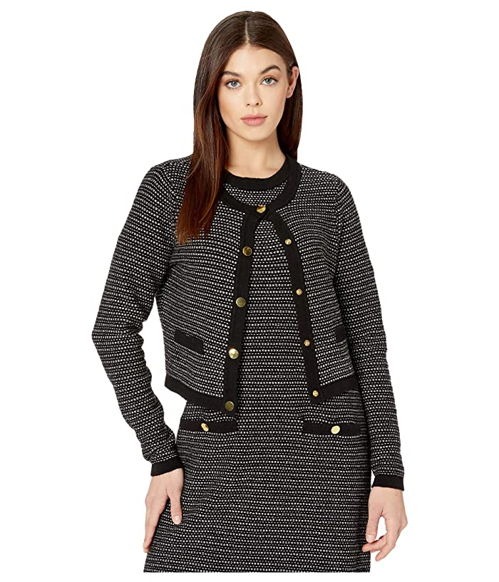 Milly  Tweed Knit Cropped Cardigan (Black Multi) Womens Clothing