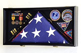 Best Large Flag & Medals Military Pins Patches Insignia Holds up to 5x9 Flag Display Case Frame Cabinet Shadowbox (Black Finish) Review