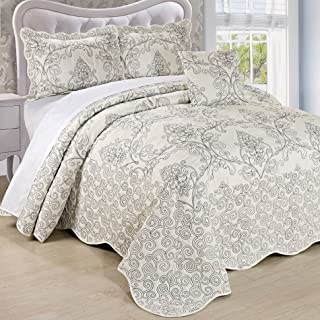 Serenta Damask 5 Piece Embroidery Coverlet Set with Floral Stitching, Extra 18