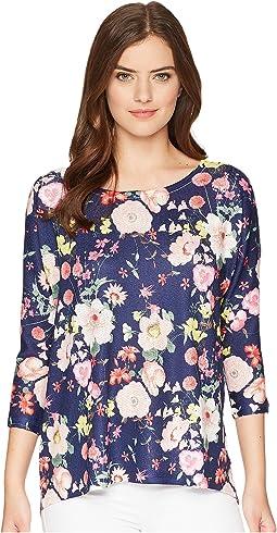 Dolman Sleeve Navy Floral Print Tunic