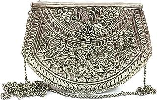 Trend Overseas Party wallet White Metal clutch silver brass Vintage clutch Handmade bag metal purse