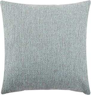 Jepeak Burlap Linen Throw Pillow Cover Rhombus Pattern Cushion Case, Solid Thickened Farmhouse Modern Decorative Square Luxury Pillow Case for Sofa Couch Bed (Light Cyan/Grey, 24 x 24 Inches)