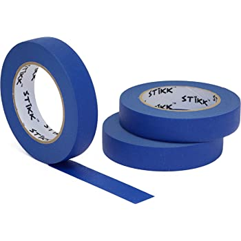 "3 Pack 1"" x 60 Yard STIKK Blue Painters Tape 14 Day Clean Release Trim Edge Finishing Tape (.94 in 24MM) (3 Pack)"