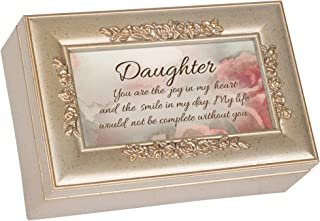 Cottage Garden Daughter You are The Smile Silvertone Embossed Jewelry Music Box Plays Wind Beneath My Wings