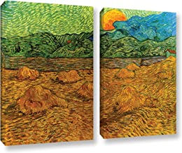 ArtWall 2 Piece Vincent Vangogh's Evening Landscape with Rising Moon Gallery Wrapped Canvas Artwork, 24