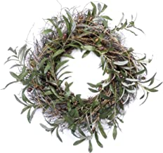 Red Co. Artificial Gathered Olive Natural Twig Spring Floral Wreath - Home Decor for Front Door or Indoor Wall - 22