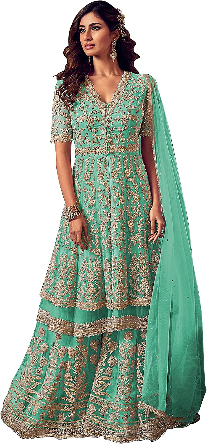 Women's Rama Ready To Wear Net And Georgette Full white Embroidered work Wedding Sharara suit By Ramdev Enterprise (Rama,48)